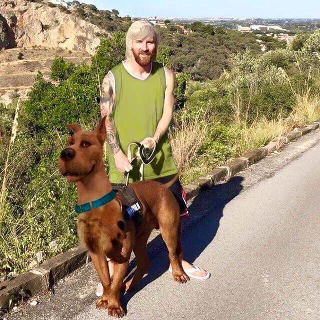 Fotomontaje de Messi y perro como Saggy Rogers y Scooby Doo