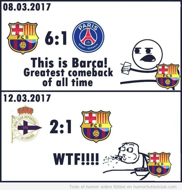 Meme gracioso Barça perder Deportivo