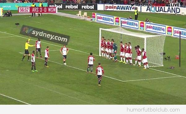 Equipo de fútbol metido en la portería